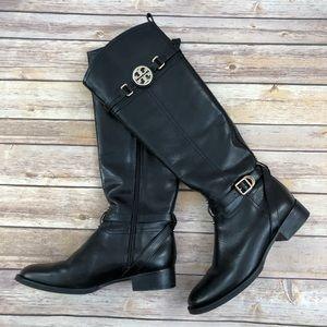 Tory Burch Gold Logo Black Riding Boots